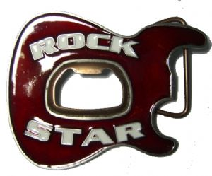 GUITAR BOTTLE OPENER (ROCK STAR) Belt Buckle + display stand